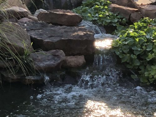Sheeting waterfalls built in Choctaw Oklahoma by Oklahoma Ponds